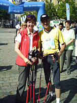 Nordic Walking - Becel Deutschland Walk in F�rth - Martina K�lbl und Christian Neureuther